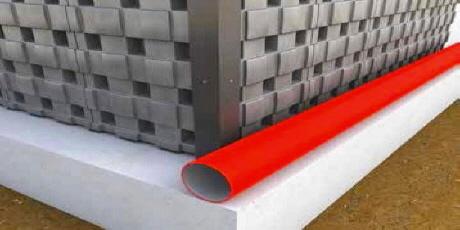 DEFENDER Schutz für Kellerwände mit Wasserabflussrohr
